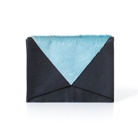 London Edit Baby Blue Pony And Navy Leather Pouch