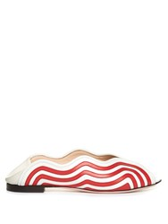 Fendi Wave Foldable Heel Leather Flats Red Stripe