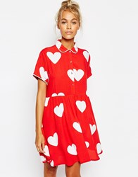 Lazy Oaf Button Front Shirt Dress With All Over Heart Print Red