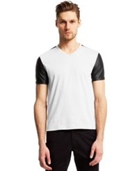 Kenneth Cole Reaction V Neck Faux Leather Sleeved T Shirt White