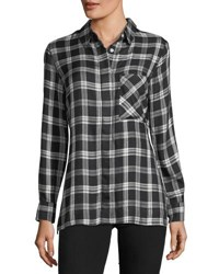 Velvet Heart Seraphina Button Down Plaid Shirt Black White