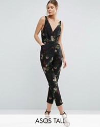 Asos Tall Cami Wrap Jumpsuit With Peg Leg In Floral Tiger Print Multi