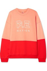 P.E Nation Money Shot Printed Two Tone French Cotton Terry Sweatshirt Bright Orange
