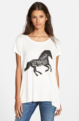 Sun Shadow Graphic High Low Tee Juniors Ivory Dove Horse Ranch