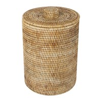 Baolgi Rattan Waste Basket With Plastic Lining Natural