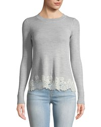 Rebecca Taylor Long Sleeve Lace Combo Pullover Sweater Gray