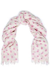 Chan Luu Woman Frayed Polka Dot Cashmere And Silk Blend Scarf Violet