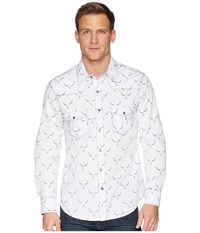 Rock And Roll Cowboy Long Sleeve Snap Print B2s6041 White Clothing