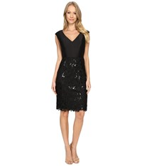 Adrianna Papell V Neck Arcadia Top Lace Skirt Black Women's Clothing