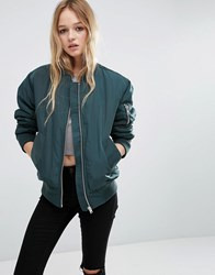 Asos Luxe Padded Bomber Jacket Teal Green