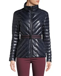 Hunter Refined Gloss Puffer Coat W Belt Navy