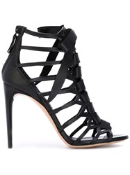 Casadei Zipped Rear Strappy Sandals Women Calf Leather Leather Nappa Leather 39.5 Black
