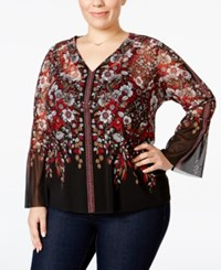 Inc International Concepts Plus Size Printed Bell Sleeve Top Only At Macy's Spilling Flower