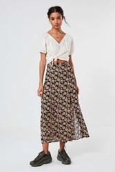 Urban Outfitters Uo Talula Floral Button Down Maxi Skirt Black Multi