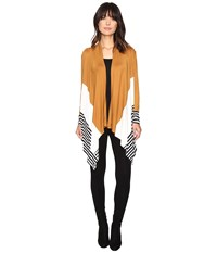 Culture Phit Leda Color Block Cardigan Camel Women's Sweater Tan