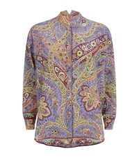 Etro Paisley Print Poncho Blouse Female Purple