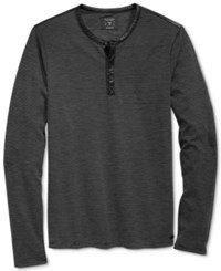Guess Men's Mason Jacquard Henley Shirt Jet Black Multi
