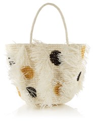 Sensi Studio Polka Dot Woven Straw Tote White Multi