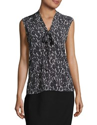 Karl Lagerfeld Sleeveless Floral Lace Blouse Black Multi