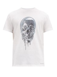 Alexander Mcqueen Melting Metal Skull Print Cotton T Shirt White