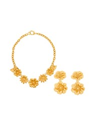 Kenzo Vintage Flowers Necklace And Earrings Set Metallic