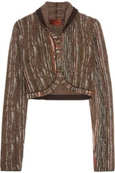 Missoni Metallic Crochet Knit Shrug Dark Brown