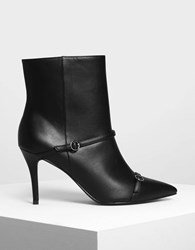 Charles And Keith Double Strap Detail Pointed Boots Black