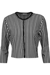 Tomas Maier Cropped Striped Knitted Cardigan Black