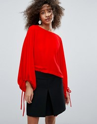 Traffic People Boat Neck Top With Tie Detail Red