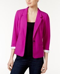 Kensie Notched Collar One Button Blazer Bright Purple