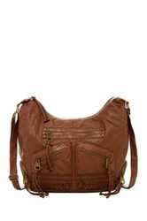 T Shirt And Jeans Embroidered Hobo Bag Brown