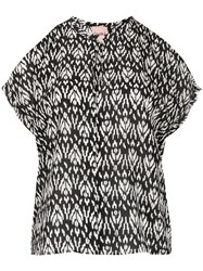 Nude Abstract Print Silk Blouse 60