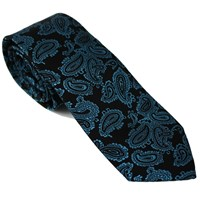 Lords Of Harlech Paisley Tie In Teal And Charcoal Blue Grey