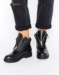 Truffle Collection Chunky Zip Hiker Boot Black Tumbled Pu