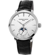 Frederique Constant Fc715s4h6 Moonphase Sterling Silver And Leather Watch White
