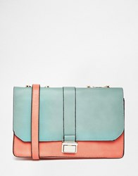 Liquorish Colour Block Lady Shoulder Bag Green Pink