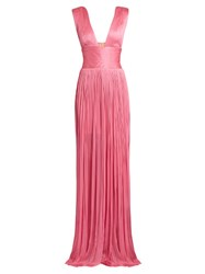 Maria Lucia Hohan Silk Tulle Pleated Gown Pink