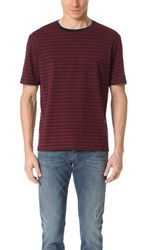 Vince Short Sleeve Stripe Mariniere Tee Burgundy Coastal