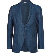 Eidos Blue Unstructured Herringbone Linen Blazer Blue