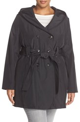 Plus Size Women's Larry Levine Hooded Trench Coat Black