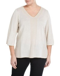 Ming Wang 3 4 Sleeve Striped Knit Top Brown