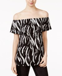 Kensie Printed Off The Shoulder Flounce Top Black Combo