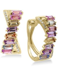 Effy Watercolors Multi Sapphire 2 5 8 Ct. T.W. And Diamond Accent Hoop Earrings In 14K Gold Yellow Gold