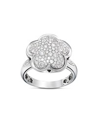 Pasquale Bruni 18K White Gold Floral Pave Diamond Ring