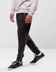 Religion Faux Suede Joggers With Zip Opening Steel Grey