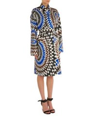 Emilio Pucci Printed Trench Coat Blue Brown
