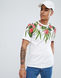 Pull And Bear Pullandbear T Shirt In White With Floral Print