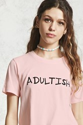 Forever 21 Adultish Graphic Tee Pink Black