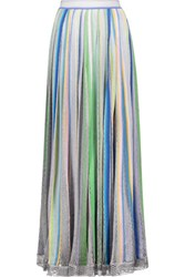 Missoni Striped Metallic Crochet Knit Maxi Skirt Multi