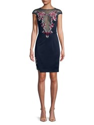Mandalay Embroidered Illusion Sheath Dress Navy